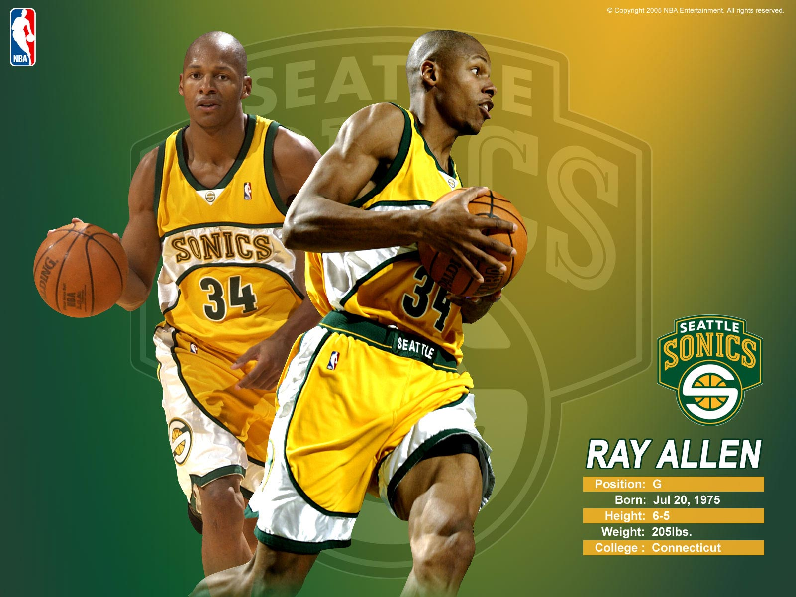 the best attitude 3f938 71b1a Ray Allen Sonics Wallpaper | Basketball Wallpapers at ...