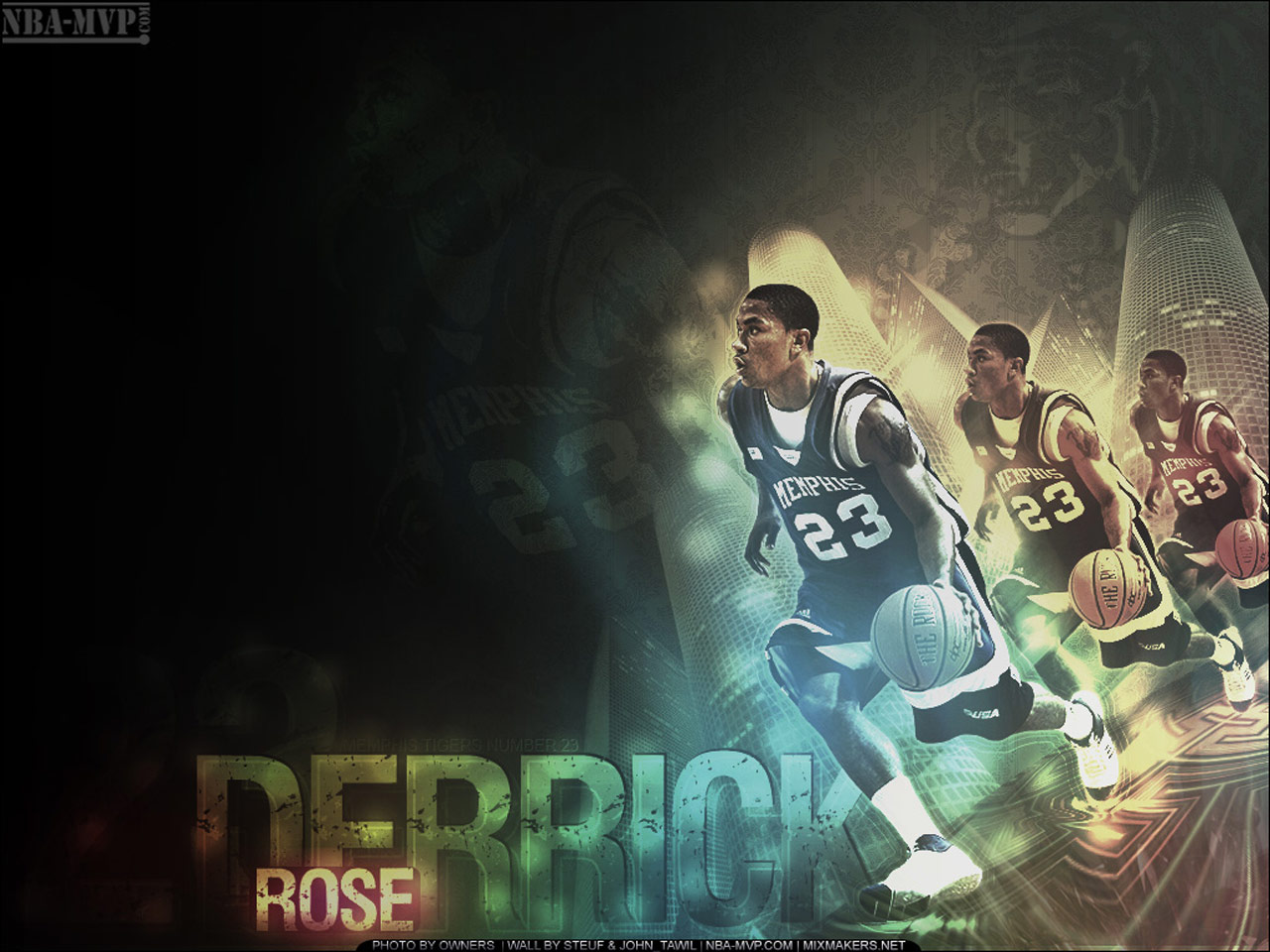 2 wallpapers of Derrick Rose, in both Derrick is in his college team,
