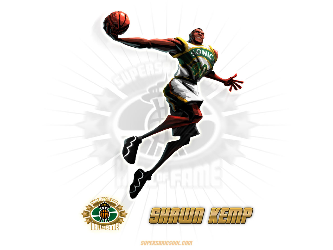 Shawn Kemp Drawn Wallpaper - Basketball Wallpapers