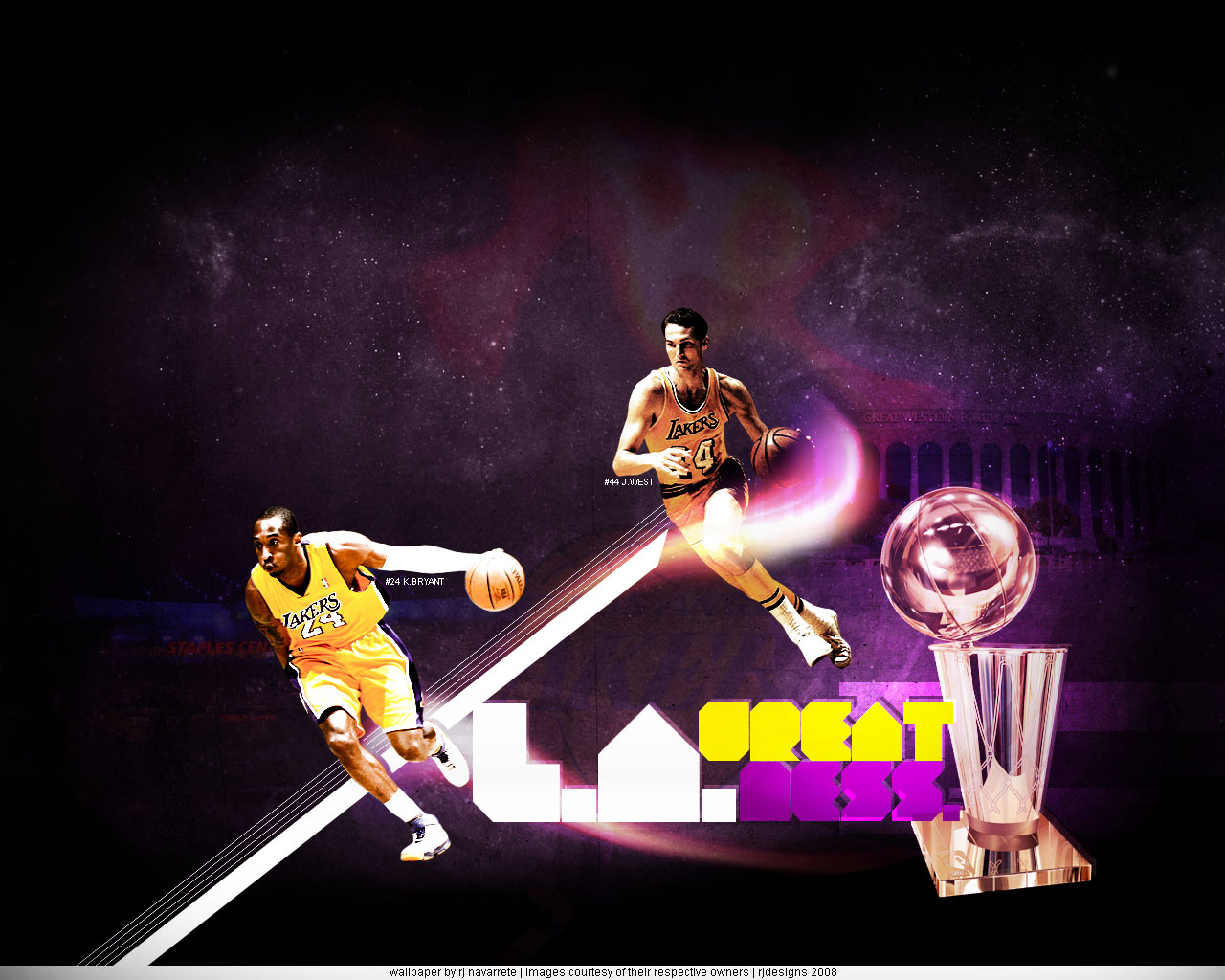 one retired and one still active - wallpaper of Jerry West and Kobe