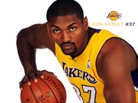 Ron Artest LA Lakers Widescreen Wallpaper