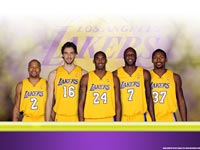 LA Lakers 2010 Starting Five Widescreen Wallpaper
