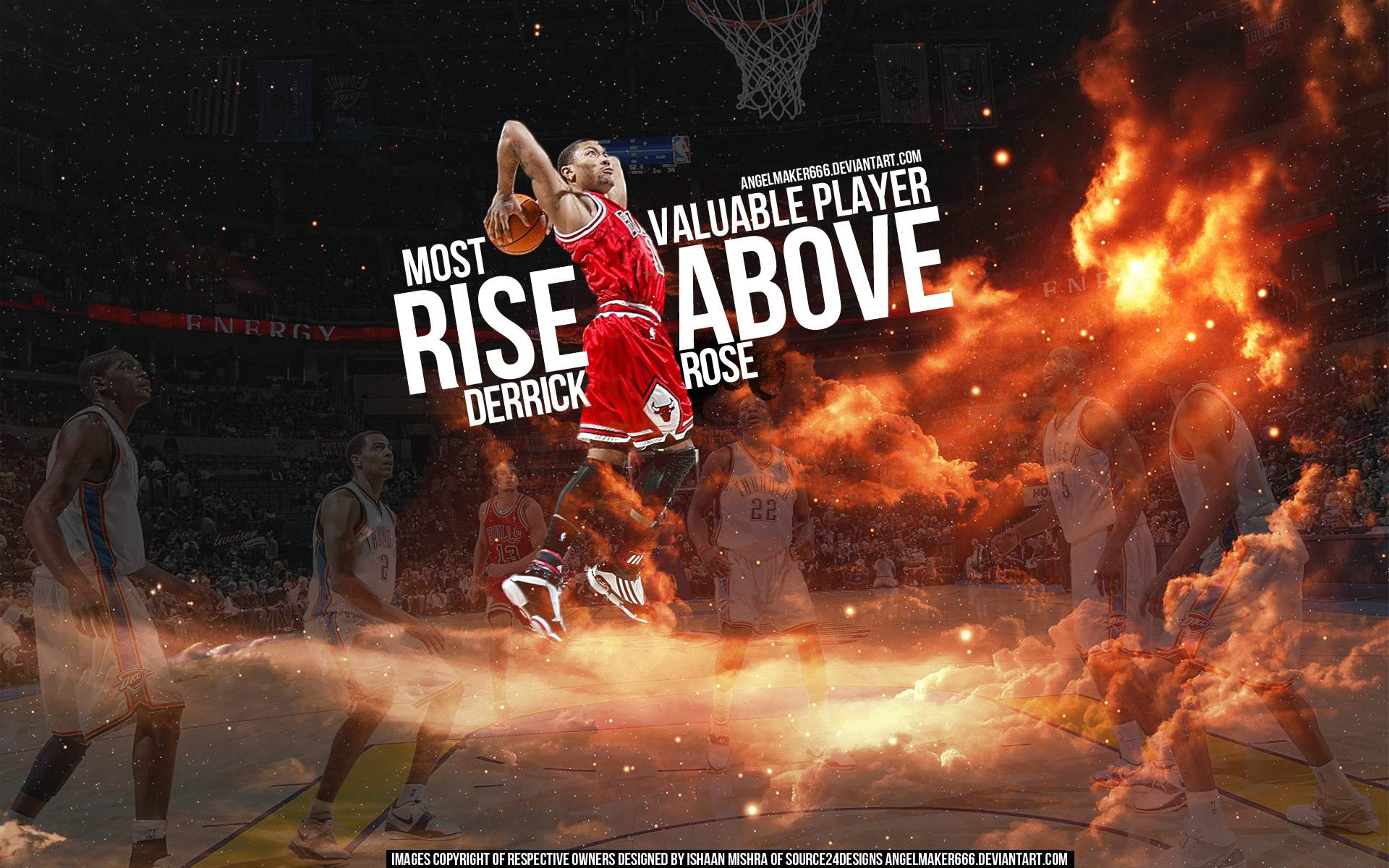 24b7bc23e0c4 Derrick Rose 2011 MVP Dunk Widescreen Wallpaper