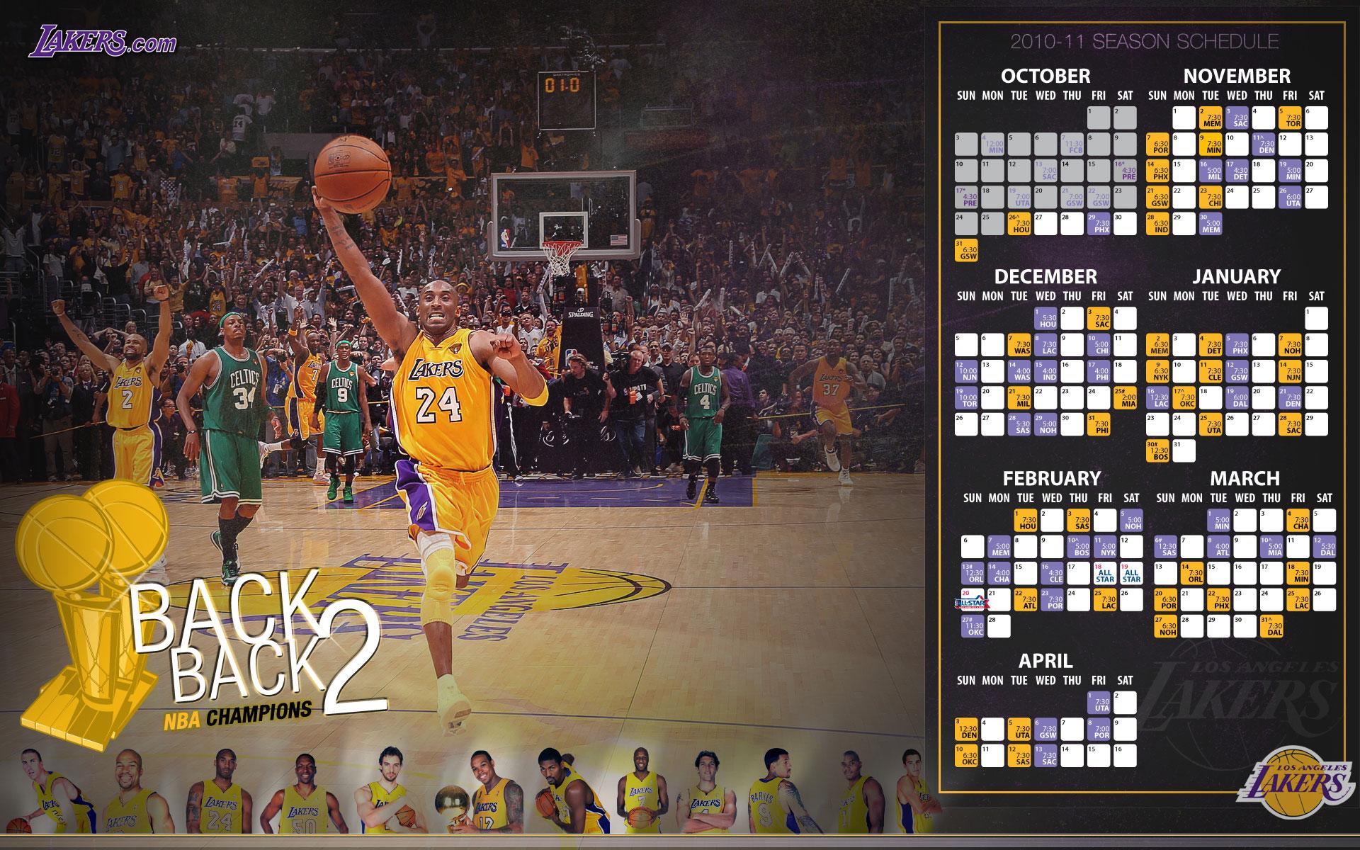 LA Lakers 2010 11 Schedule Widescreen Wallpaper