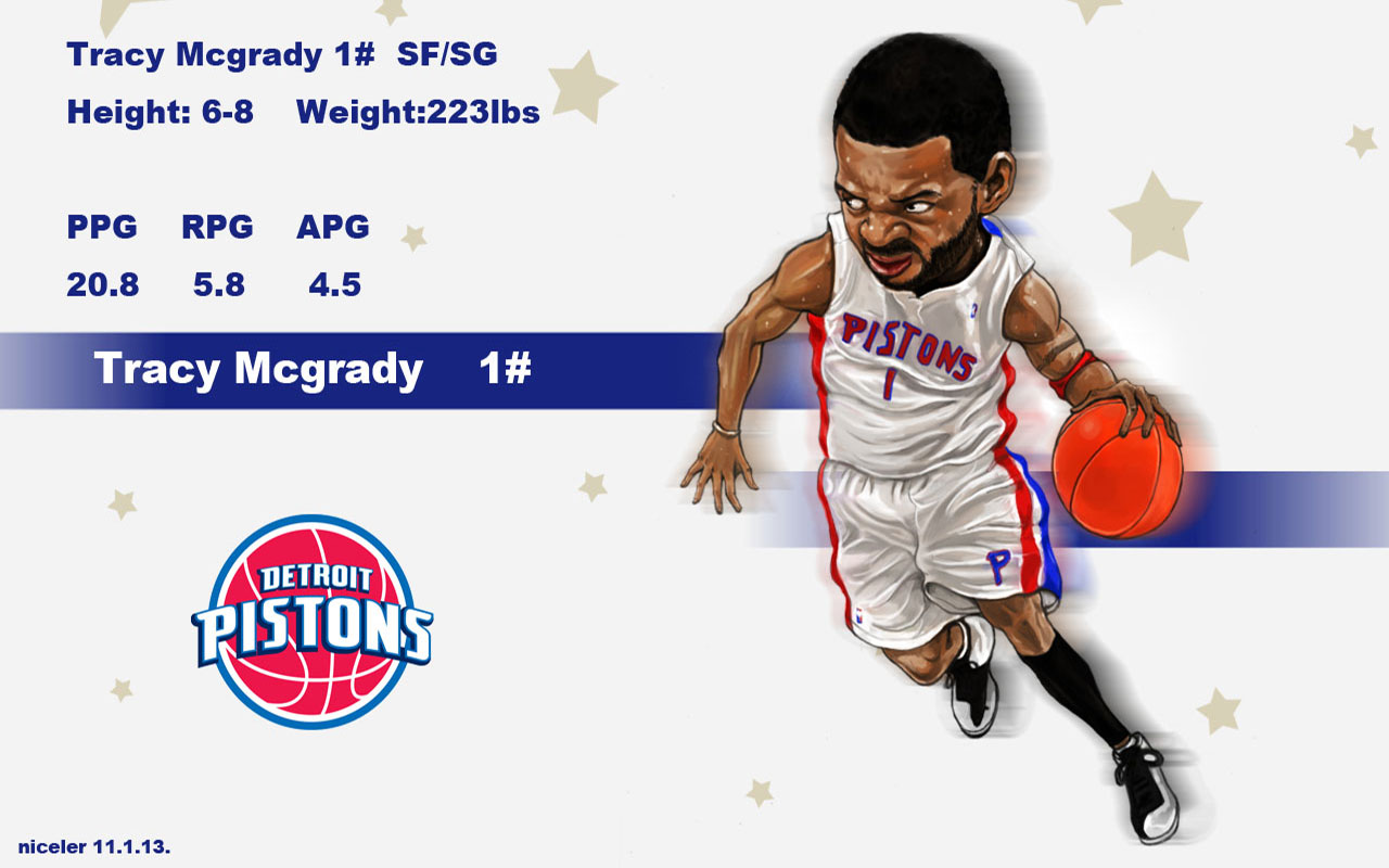 Tracy McGrady Drawn Pistons Widescreen Wallpaper - Basketball ...
