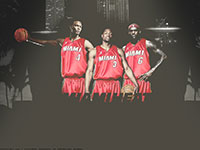Bosh, Wade, James Miami Heat Widescreen Wallpaper