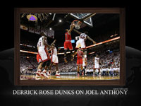 Derrick Rose Dunk Over Joel Anthony Widescreen Wallpaper