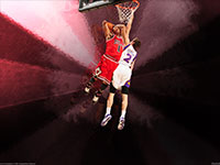 Derrick Rose Over Goran Dragic Widescreen Wallpaper