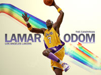 Lamar Odom Lakers Dunk Widescreen Wallpaper