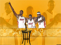 Miami Heat Big 3 With NBA Trophy Widescreen Wallpaper