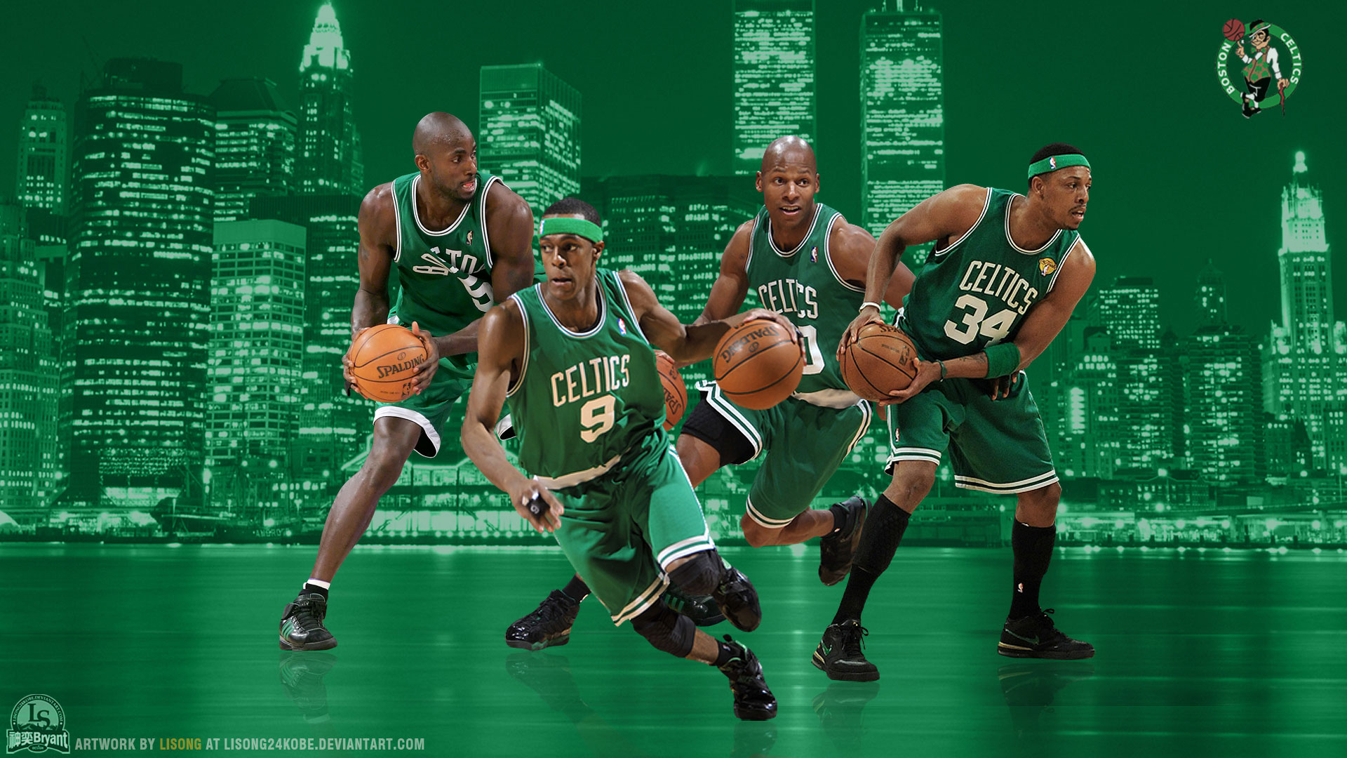 Boston Celtics Big 4 2012 Widescreen Wallpaper