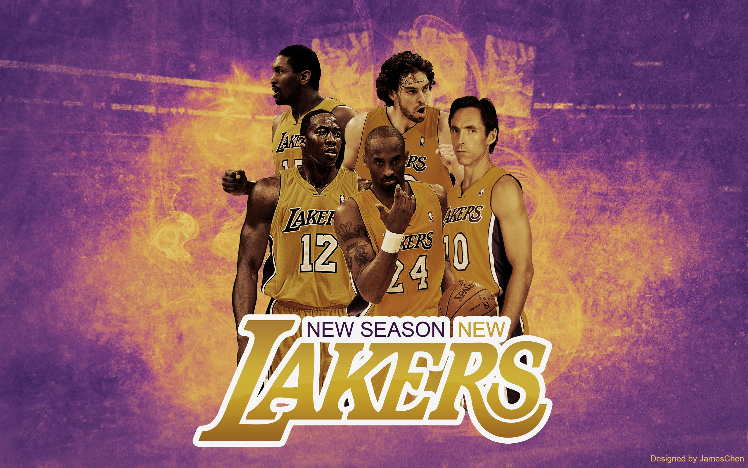 LA Lakers 2013 Starting Five 2560x1600 Wallpaper