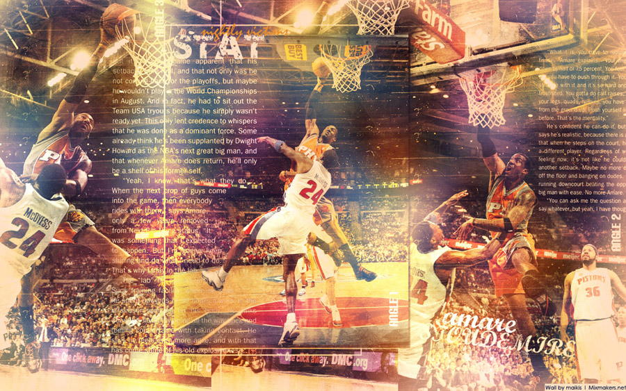 Amare Stoudemire Tripple Dunk Widescreen Wallpaper