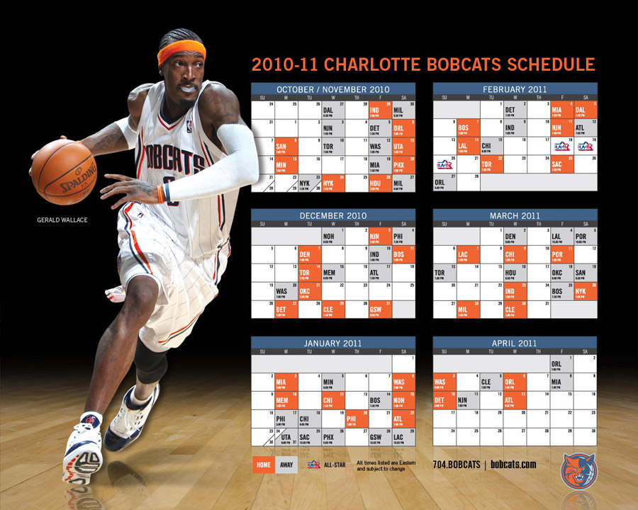 Charlotte Bobcats 2010-11 Schedule Wallpaper