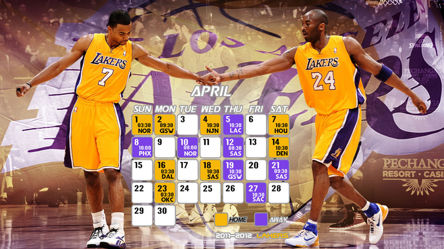 LA Lakers Schedule April 2012 Wallpaper