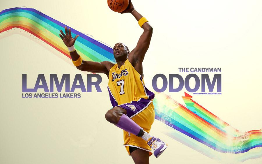 Lamar Odom Lakers Dunk Widescreen Wallpaper