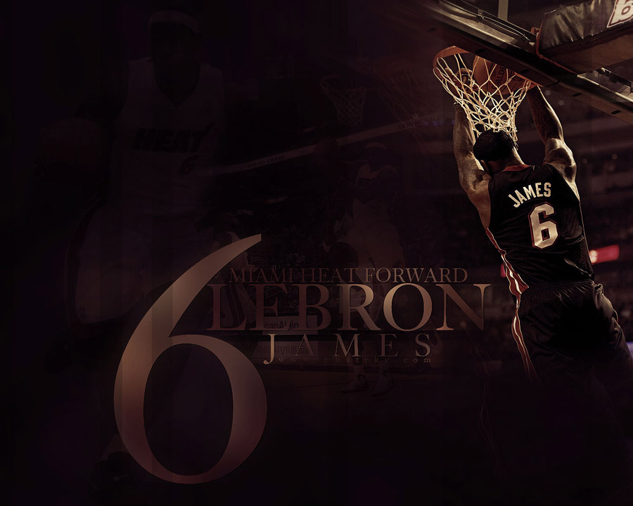 LeBron James Heat Reverse Dunk Widescreen Wallpaper