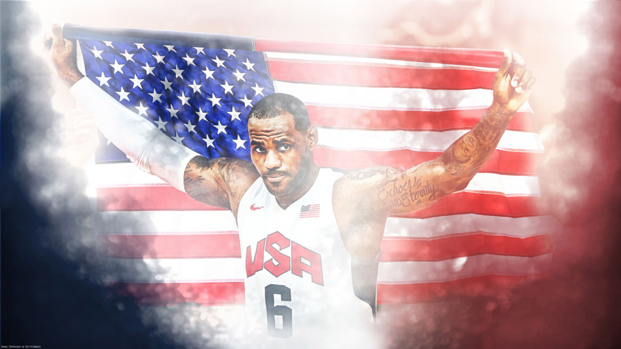 LeBron James London 2012 USA Flag 2560x1440 Wallpaper