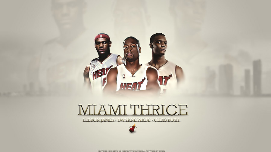 LeBron, Wade, Bosh - Miami Heat Widescreen Wallpaper