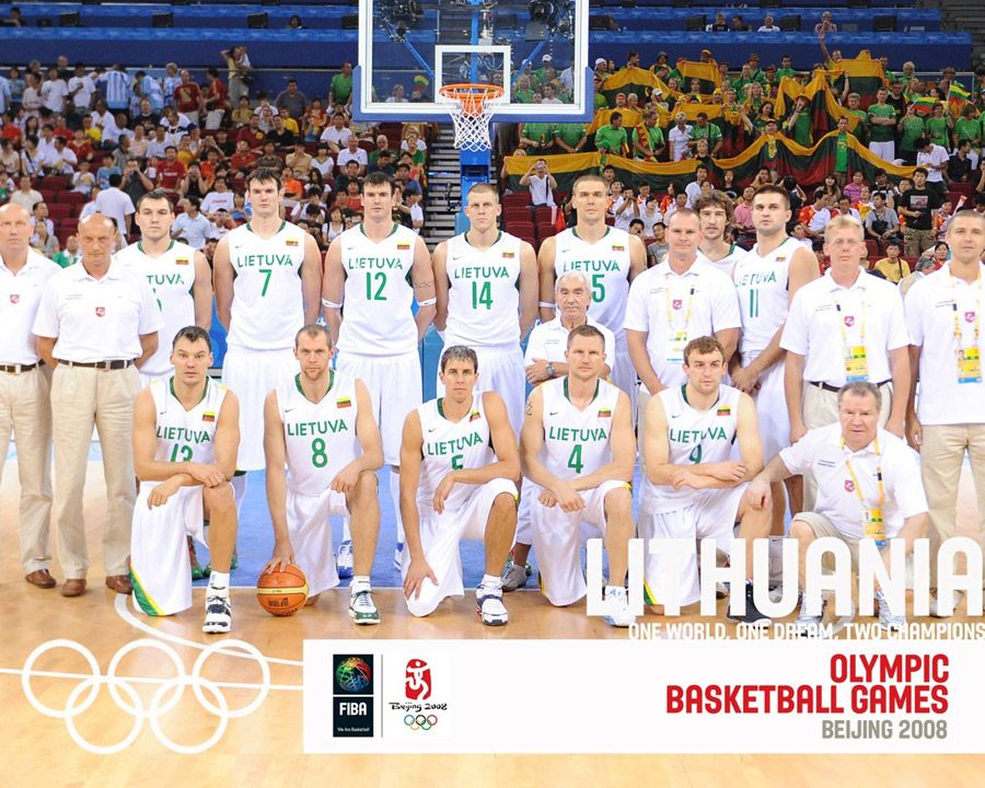 Lithuania Basketball Olympic Team 2008 Wallpaper