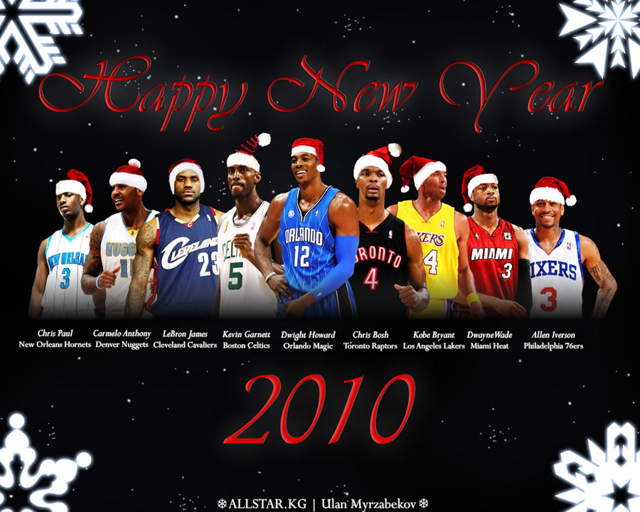 NBA Stars Happy New Year 2010 Wallpaper