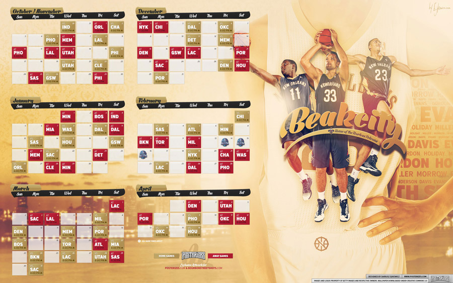 New Orleans Pelicans 2013-2014 Schedule 2880x1800 Wallpaper