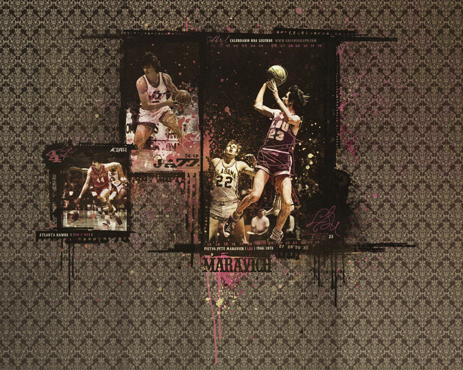 Pete Maravich April 2009 Calendar Wallpaper