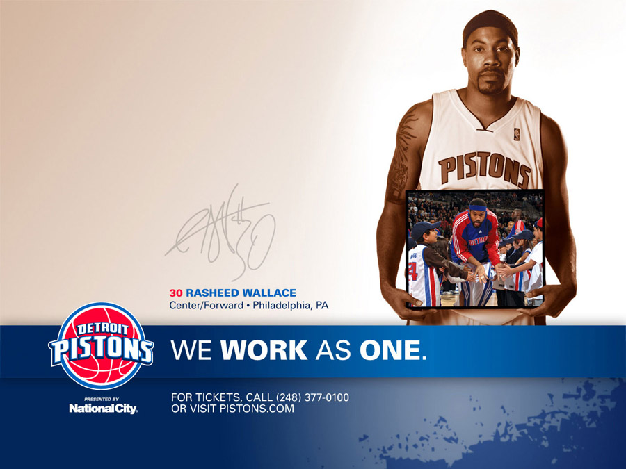 Rasheed Wallace Detroit Pistons Wallpaper