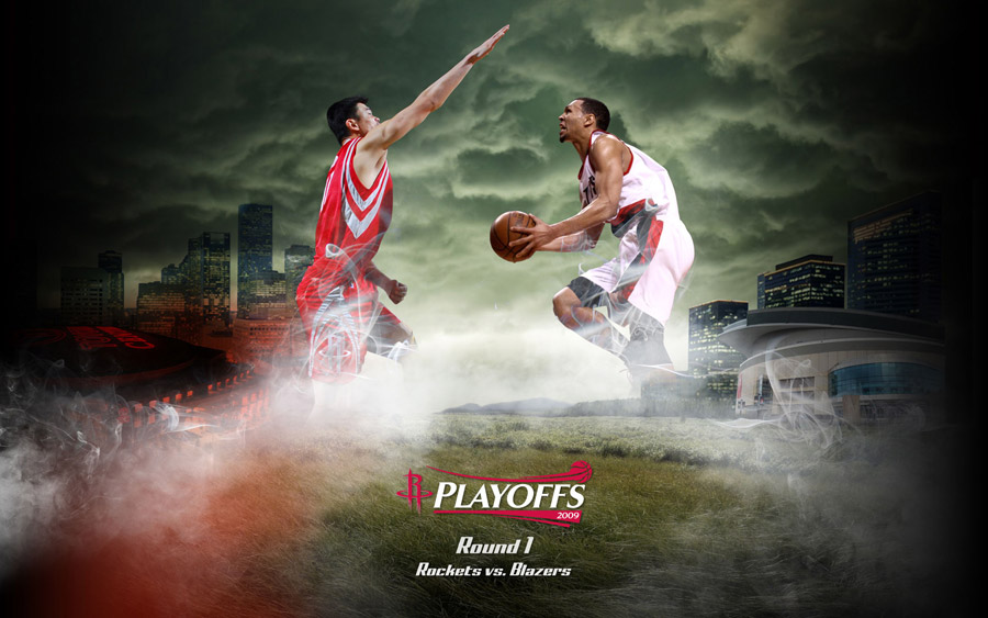Rockets vs Blazers 2009 Playoffs Widescreen Wallpaper