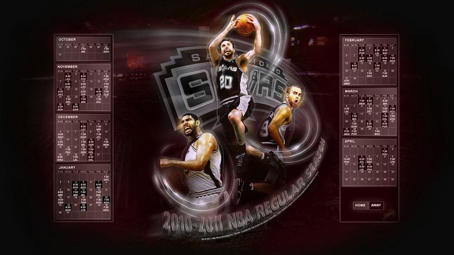 San Antonio Spurs 2010-2011 Calendar Wallpaper