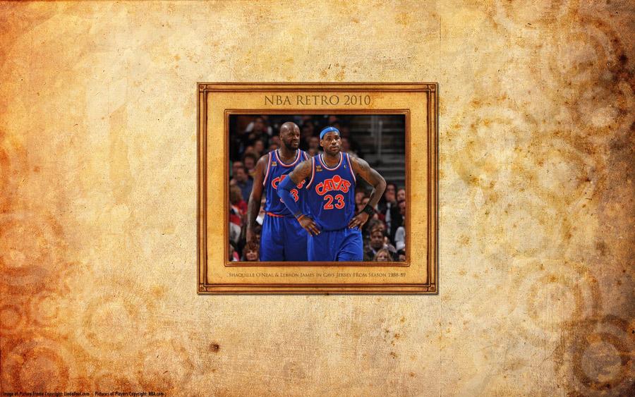 Shaq & LeBron Cavs Retro Widescreen Wallpaper