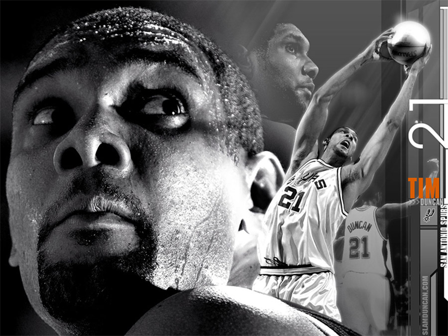 Tim Duncan Black-White Wallpaper