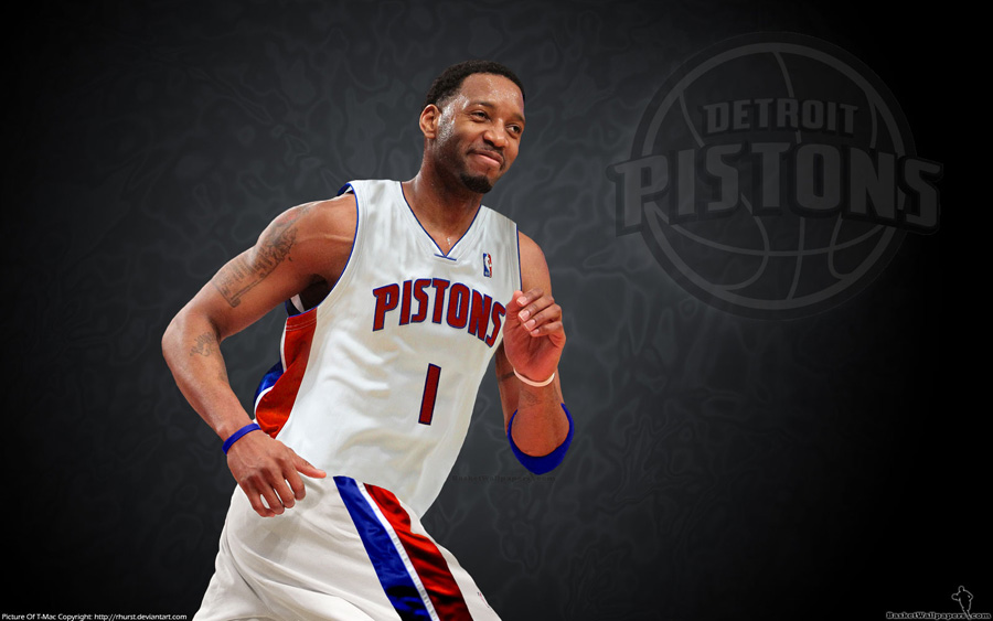 Tracy McGrady Detroit Pistons Widescreen Wallpaper