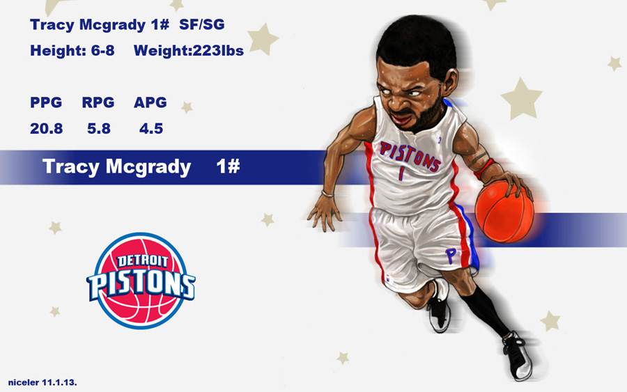 Tracy McGrady Drawn Pistons Widescreen Wallpaper