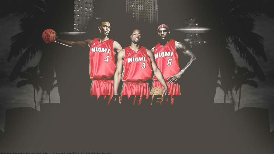 Bosh, Wade, James - Miami Heat Widescreen Wallpaper