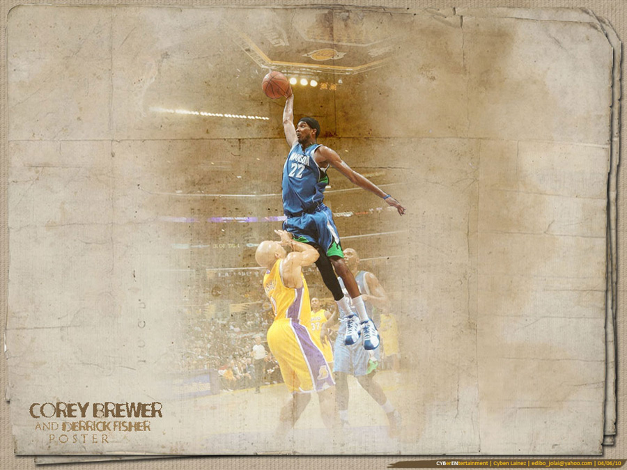 Corey Brewer Dunking Over Derrick Fisher Wallpaper