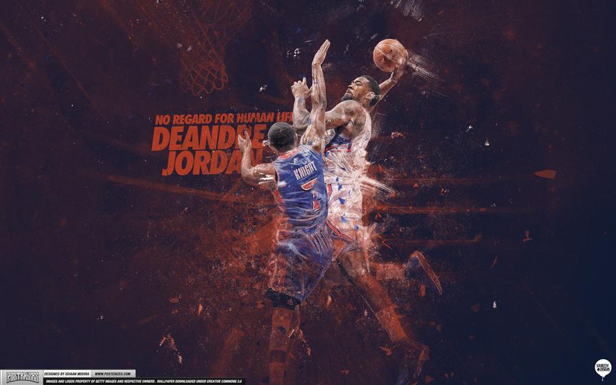 DeAndre Jordan over Brandon Knight 2013 2880x1800 Wallpaper