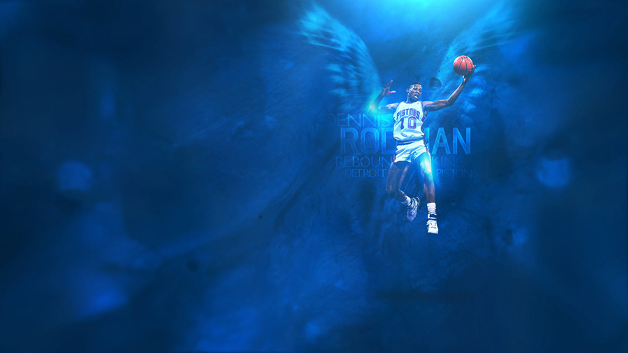 Dennis Rodman Pistons Wings Widescreen Wallpaper