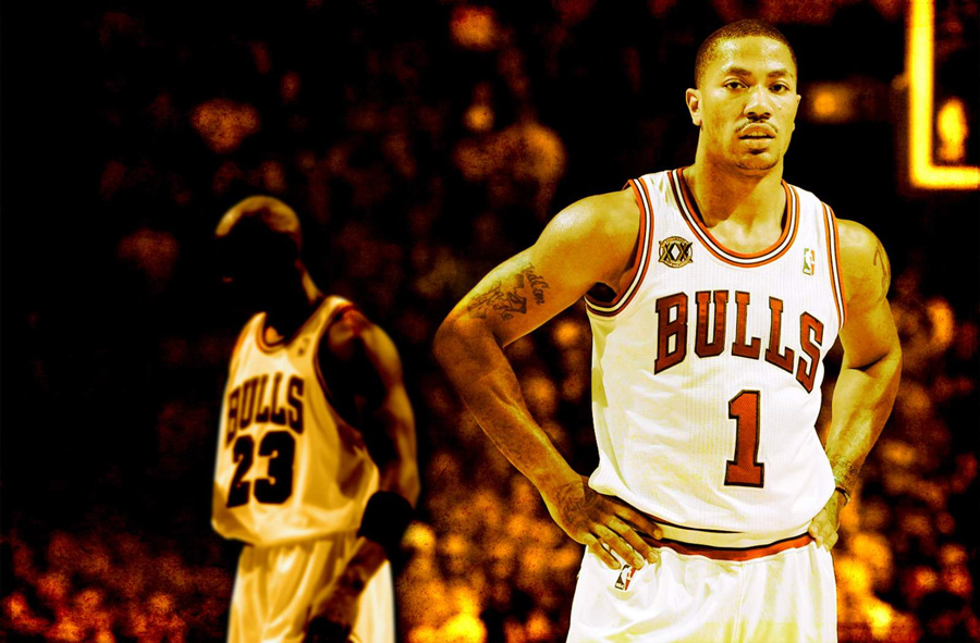 Derrick Rose And MJ Widescreen Wallpaper