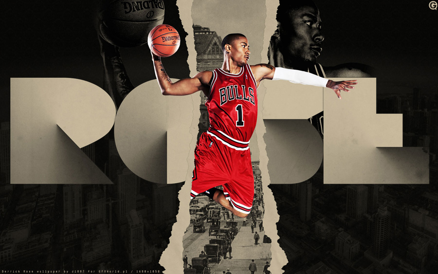 Derrick Rose Bulls Number 1 Widescreen Wallpaper