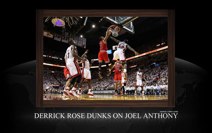 Derrick Rose Dunk Over Joel Anthony Widescreen Wallpaper