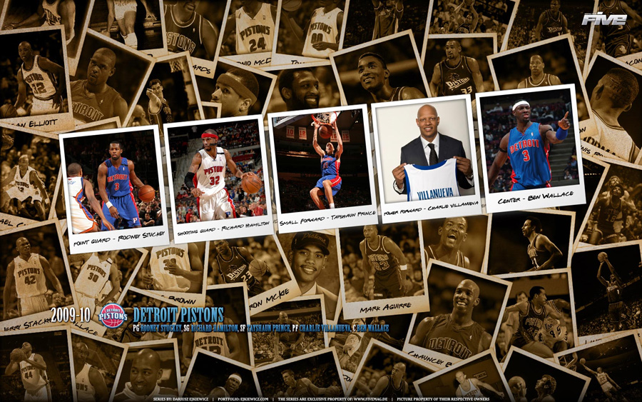 Detroit Pistons Polaroid 2010 Widescreen Wallpaper