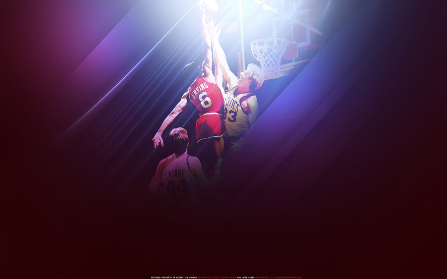 Dr. J Dunk Over Larry Bird Widescreen Wallpaper