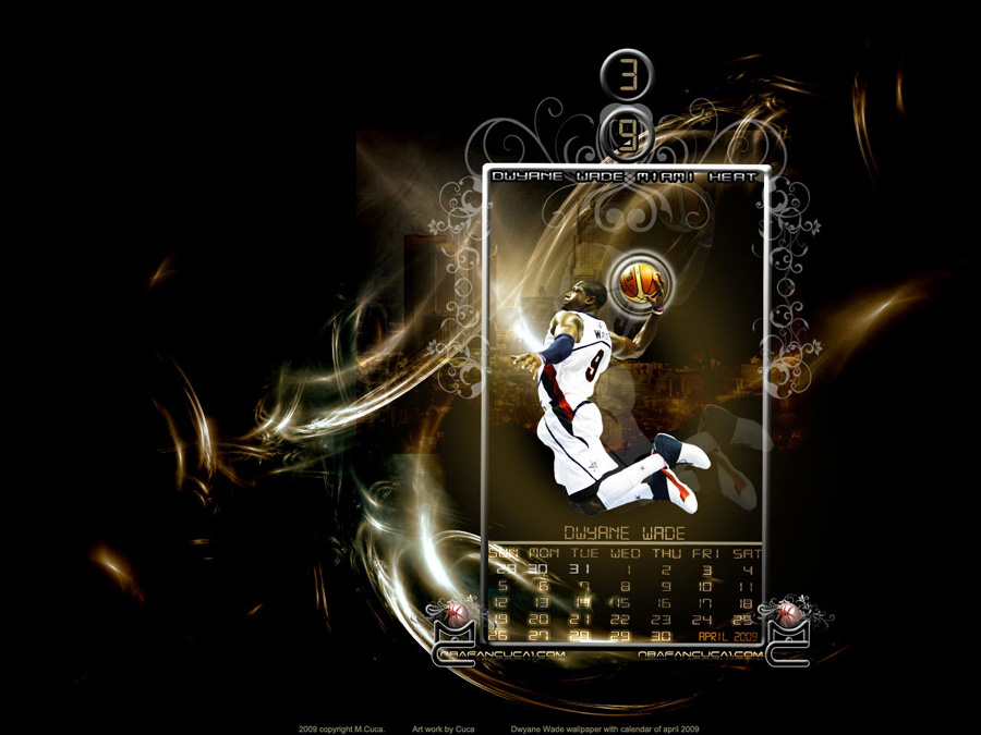 Dwyane Wade April 2009 Calendar Wallpaper