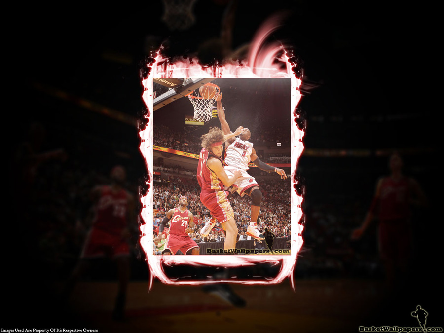 Dwyane Wade Dunk Over Varejao Wallpaper