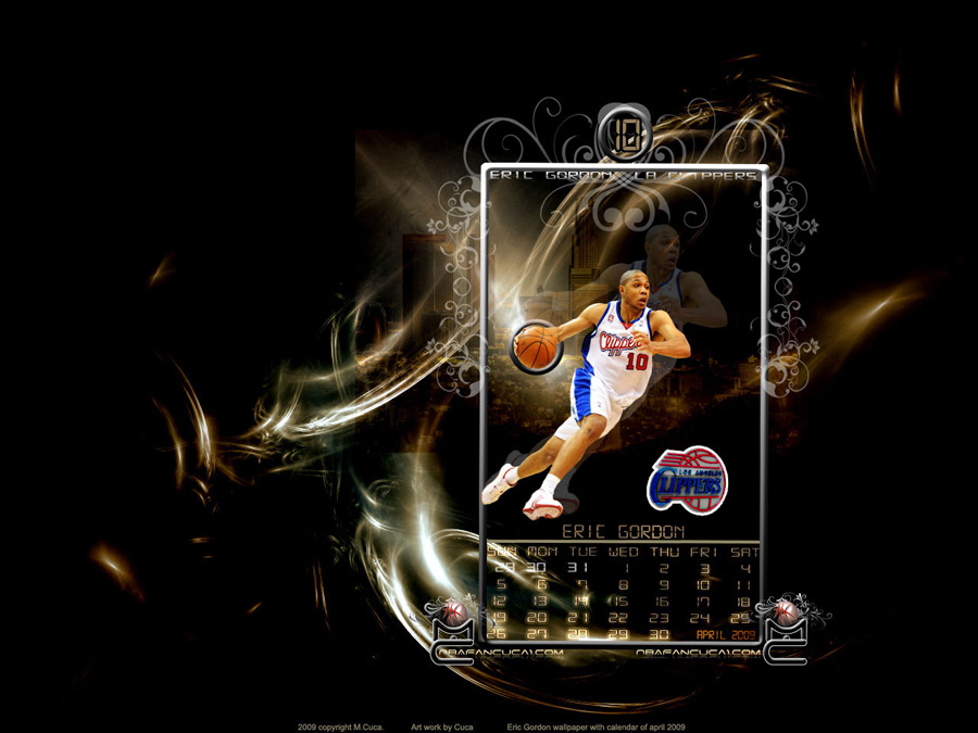 Eric Gordon April 2009 Calendar Wallpaper