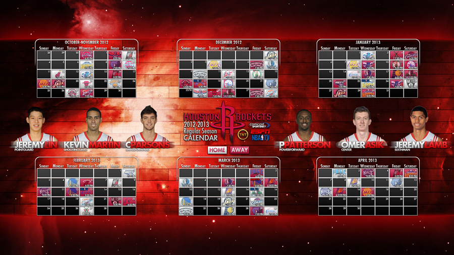 Houston Rockets 2012-2013 Schedule Wallpaper