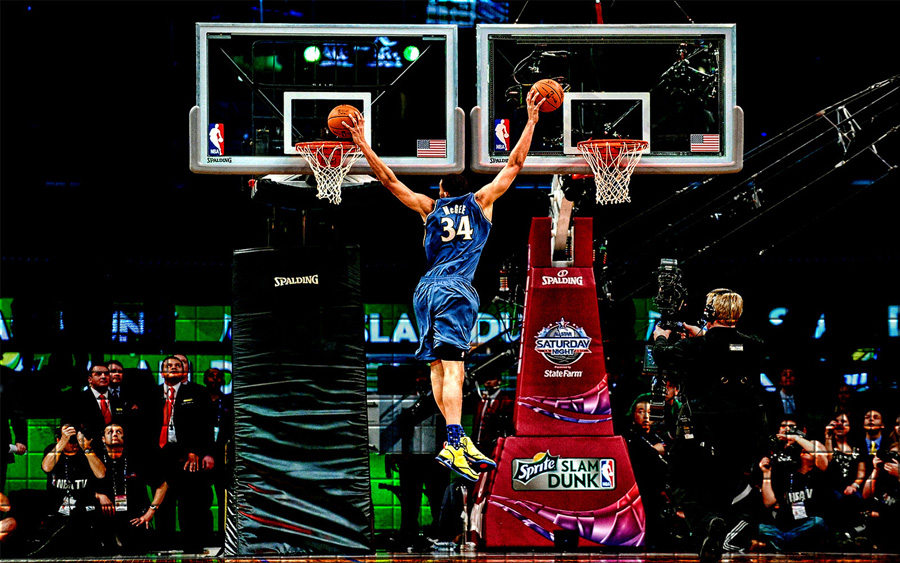 JaVale McGee Double Dunk Widescreen Wallpaper