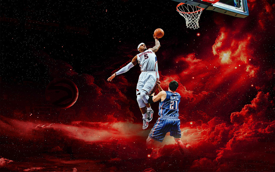 Josh Smith Dunk Over Najera Widescreen Wallpaper