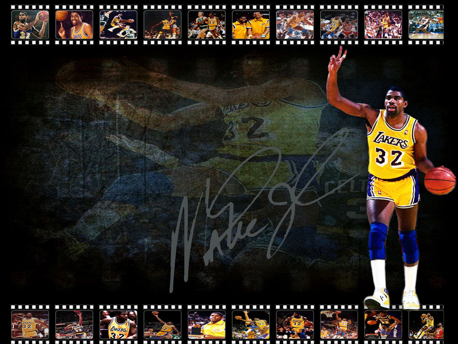 Magic Johnson LA Lakers Signed Wallpaper